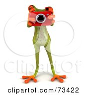 3d Green Tree Frog Using A Red Camera by Julos
