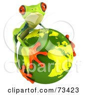3d Green Tree Frog Embracing The Earth