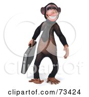 Royalty Free RF Clipart Illustration Of A 3d Chimp Character Walking With A Business Briefcase