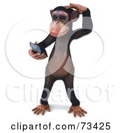 Royalty Free RF Clipart Illustration Of A 3d Chimp Character Holding A Cellular Phone Version 1