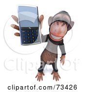 Royalty Free RF Clipart Illustration Of A 3d Chimp Character Holding A Cellular Phone Version 2