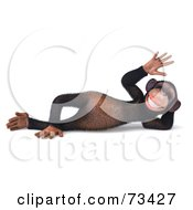 Royalty Free RF Clipart Illustration Of A 3d Chimp Character Relaxing And Waving