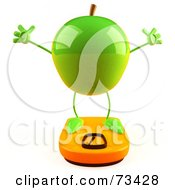 Royalty Free RF Clipart Illustration Of A 3d Green Apple Character Standing On A Scale