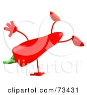 Royalty Free RF Clipart Illustration Of A 3d Red Chili Pepper Character Doing A Hand Stand by Julos