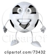 Royalty Free RF Clipart Illustration Of A 3d Soccer Ball Character Smiling And Facing Front by Julos