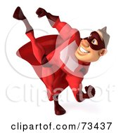 3d Red Super Hero Guy Kicking High by Julos
