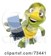Royalty Free RF Clipart Illustration Of A 3d Green Tortoise Character Holding A Cell Phone