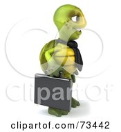 Royalty Free RF Clipart Illustration Of A 3d Green Tortoise Character Businessman With A Briefcase Version 1