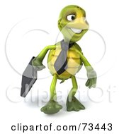 Royalty Free RF Clipart Illustration Of A 3d Green Tortoise Character Businessman With A Briefcase Version 3