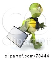 Royalty Free RF Clipart Illustration Of A 3d Green Tortoise Character Businessman With A Briefcase Version 4