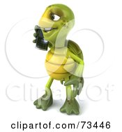 Royalty Free RF Clipart Illustration Of A 3d Green Tortoise Character Talking On A Cell Phone