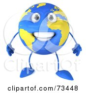 Royalty Free RF Clipart Illustration Of A 3d Blue And Yellow Globe Character