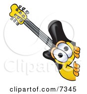 Clipart Picture Of A Guitar Mascot Cartoon Character Peeking Around A Corner by Toons4Biz