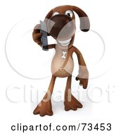 Royalty Free RF Clipart Illustration Of A 3d Brown Pooch Character Talking On A Cell Phone by Julos