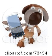 Royalty Free RF Clipart Illustration Of A 3d Brown Pooch Character Holding A Cell Phone by Julos
