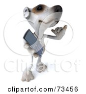 Royalty Free RF Clipart Illustration Of A 3d Jack Russell Terrier Pooch Character Holding A Cell Phone