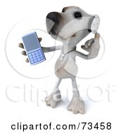 3d Jack Russell Terrier Pooch Character Holding Out A Cell Phone by Julos