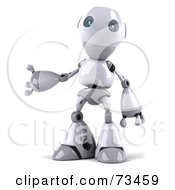 Royalty Free RF Clipart Illustration Of A 3d Robot Boy Character Standing And Presenting by Julos