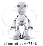 Royalty Free RF Clipart Illustration Of A 3d Robot Boy Character Standing And Facing Front by Julos