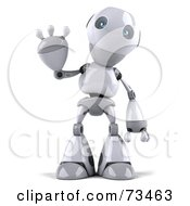 Royalty Free RF Clipart Illustration Of A 3d Robot Boy Character Standing And Waving by Julos