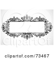 Royalty Free RF Clipart Illustration Of A Black And White Blank Wrought Iron Text Box by BestVector