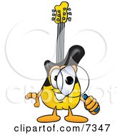 Clipart Picture Of A Guitar Mascot Cartoon Character Looking Through A Magnifying Glass by Toons4Biz