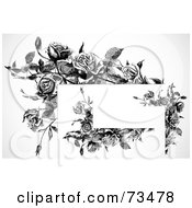 Royalty Free RF Clipart Illustration Of A Black And White Blank Text Box And Corner Elements by BestVector