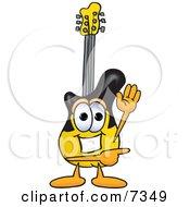 Guitar Mascot Cartoon Character Waving And Pointing