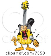 Guitar Mascot Cartoon Character Singing Loud Into A Microphone