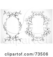 Royalty Free RF Clipart Illustration Of A Digital Collage Of Black And White Oval Text Boxes Version 1