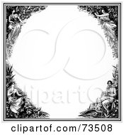 Royalty Free RF Clipart Illustration Of A Black And White Maiden Border Frame