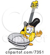 Guitar Mascot Cartoon Character With A Computer Mouse