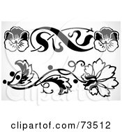 Royalty Free RF Clipart Illustration Of A Digital Collage Of Black And White Floral Border Design Elements Version 11