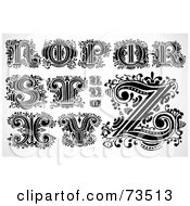 Royalty Free RF Clipart Illustration Of A Digital Collage Of Scrolly Leaf Black And White Letters N Through Z