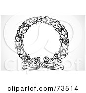 Royalty Free RF Clipart Illustration Of A Black And White Oak Leaf Wreath With A Bow