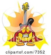 Guitar Mascot Cartoon Character Dressed As A Super Hero