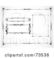 Royalty Free RF Clipart Illustration Of A Digital Collage Of Blank Scroll Banners Version 1