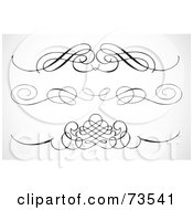 Royalty Free RF Clipart Illustration Of A Digital Collage Of Black And White Elegant Swirl Border Elements Version 3