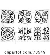 Poster, Art Print Of Digital Collage Of Black And White Floral Tribal Design Elements