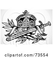 Royalty Free RF Clipart Illustration Of A Black And White Sword With A Branch And Crown by BestVector