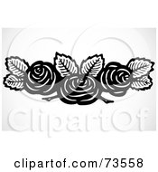 Royalty Free RF Clipart Illustration Of A Black And White Rose And Leaf Header by BestVector