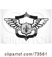 Royalty Free RF Clipart Illustration Of A Black And White Fleur De Lis And Wing Shield by BestVector