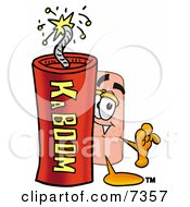 Clipart Picture Of A Bandaid Bandage Mascot Cartoon Character Standing With A Lit Stick Of Dynamite