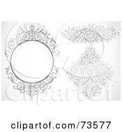 Royalty Free RF Clipart Illustration Of A Digital Collage Of Black And White Ornate Swirly Design Elements