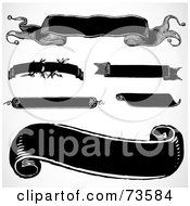 Royalty Free RF Clipart Illustration Of A Digital Collage Of Black And White Blank Banner Design Elements Version 1