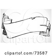 Royalty Free RF Clipart Illustration Of A Black And White Blank Banner Design Element Version 7