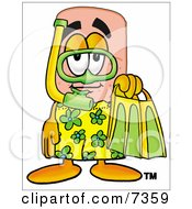 Clipart Picture Of A Bandaid Bandage Mascot Cartoon Character In Green And Yellow Snorkel Gear