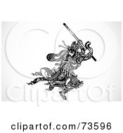 Royalty Free RF Clipart Illustration Of A Black And White Samurai Warrior Fighting With A Stick by BestVector
