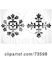 Royalty Free RF Clipart Illustration Of A Digital Collage Of Two Black And White Floral Snowflakes by BestVector