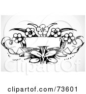 Royalty Free RF Clipart Illustration Of A Black And White Blank Flower Banner